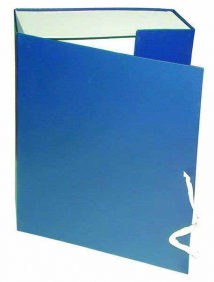 Короб архивный на завязках, бумвинил, 320х242х100 мм, синий, арт КАрхБ/В-100С