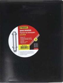 """Папка A4 2 кольца диаметром 16 мм и внутр карм  черная полупр  0.70 мм """"Proff. Ultra"""" арт RB16-2U-06"""