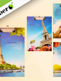 Клип-борд картонный с метал.прижимом ПАРИЖ, А4, 31,5х22см., 4 дизайна в ассортименте арт S 8269