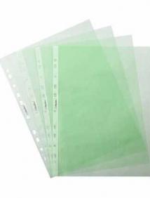 Папка -Вкладыш с перфорацией Hatber 100шт, А4ф 40мкм ECO Зеленая, тиснение 042635, арт AF4/100_14207