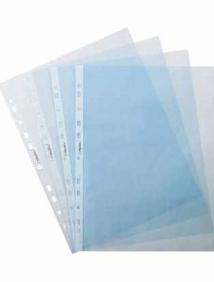 Папка -Вкладыш с перфорацией Hatber 100шт, А4ф 40мкм ECO Синяя, тиснение 042637, арт AF4/100_14209