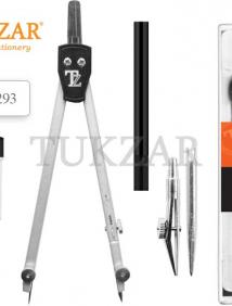 Готовальня 5 предметов. Циркуль металлический, оцинкованная игла, насадка на рейсфедер, держатель для рейсфедера,грифель в футляре арт TZ 7293