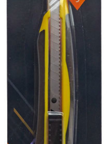 Резак канцелярский  в форме стрелы, 9 мм, с резиновой накладкой и доп. лезвием, упак. блистер, арт ICU565