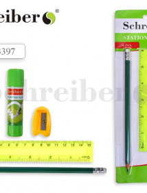 Канцелярский набор Schreiber №1: карандаш чернографитный с ластиком, точилка пластиковая, клей-карандаш 9 гр, линейка пластиковая 15 см, в блистерной
