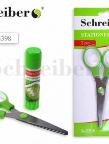Канцелярский набор Schreiber №2: клей-карандаш 9 грамм, ножницы, в блистерной упаковке арт S 3398