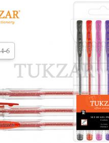 Набор гелевых ручек прозрачный корпус и колпачок/суперметаллик с блестками/, 6 цветов арт TZ 144-6
