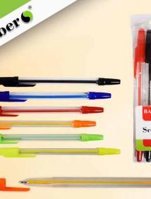 Набор шариковых ручек, 6 цветов,  0,8 мм, прозрачный пластиковый корпус, пластиковая упаковка с подвесом арт S 840-6