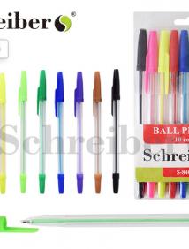 Набор шариковых ручек, 10 цветов,  0,8 мм, прозрачный пластиковый корпус, пластиковая упаковка с подвесом арт S 840-10
