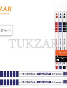 Набор шариковых ручек: чернила на масляной основе, белый пластиковый корпус, с резиновым держателем (кольца), ассорти 4 цвета арт TZ 1076- 4