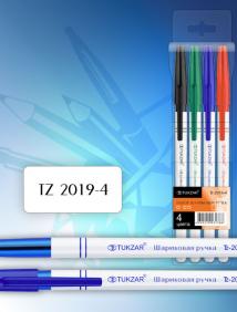 Набор шариковых ручек, 4 цвета, упаковка с европодвесом арт TZ 2019-4