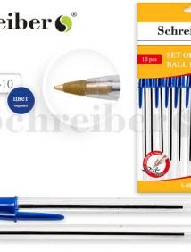 Набор шариковых ручек, 10 шт,  цвет чернил - СИНИЙ, 1.0 mm, стержень 133 мм арт S 803-10