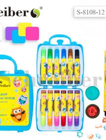 Набор фломастеров ароматизированных, со штампами, 12 цветов, круглый корпус с печатью, вентилируемый колпачок, в пластиковой чемоданчике арт S 8108-12