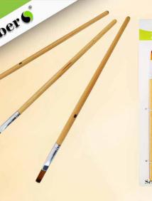 Набор кистей нейлоновых плоских/круглых 3 шт. №2,4,6, с деревянной рукояткой арт S 1711