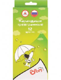 """Карандаши 12 цветов """"Boom. Creativo"""" (длина 175 мм) трехгранные в картонной коробке с европодвесом, ok 6.9 мм арт 0101-1512"""