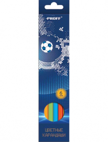 "Карандаши 06 цветов ""Proff. Football"" в картонной коробке с европодвесом арт MB17-BCL06"