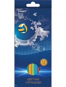 "Карандаши 12 цветов ""Proff. Football"" в картонной коробке с европодвесом арт MB17-BCL12"