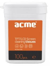 Cалфетки для экранов TFT в тубе acme 100 шт.